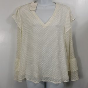 NWT A New Day blouse cream 100% polyester sz S